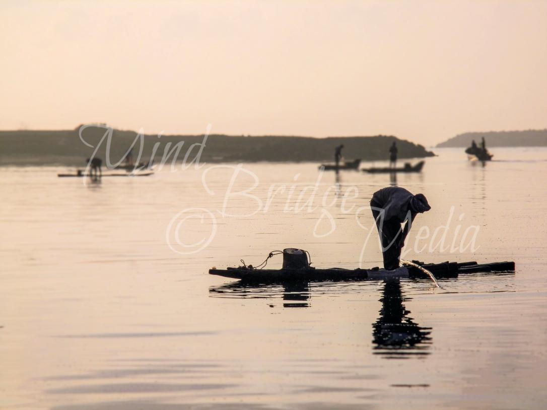 fishing at sunrise, India