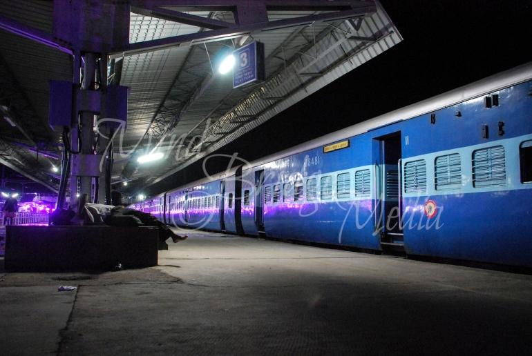 train station at night, India
