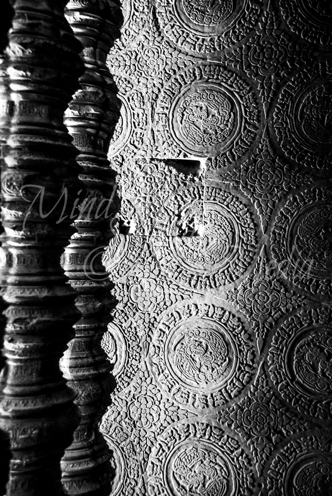 columns, shadows, design, temple, cambodia, asia