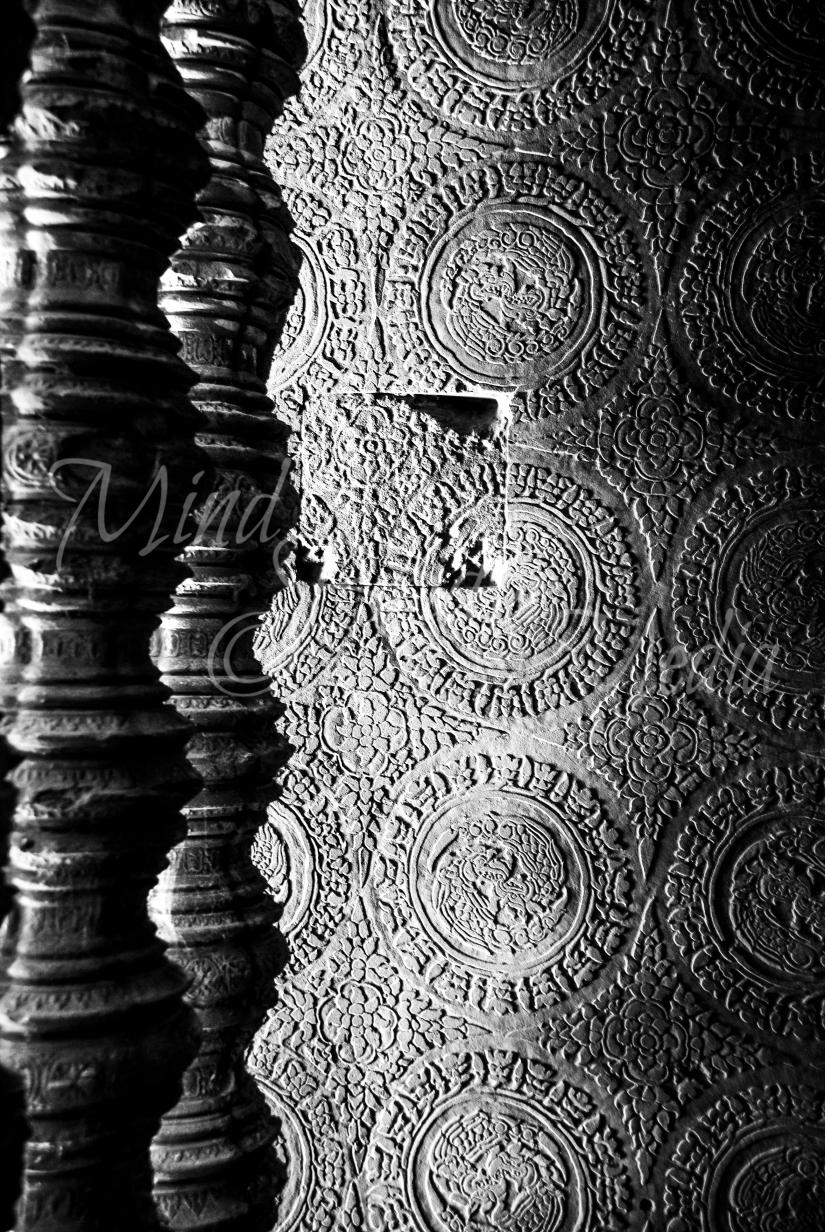 columns, shadows, design, temple, cambodia, asia