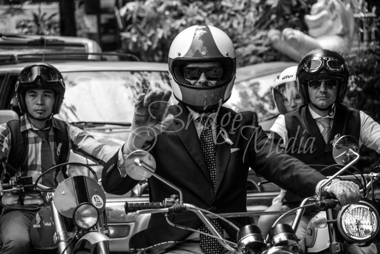 Biker man black and white