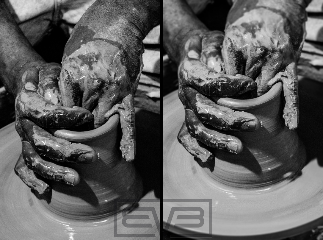 Before/After - Potter's hands detail