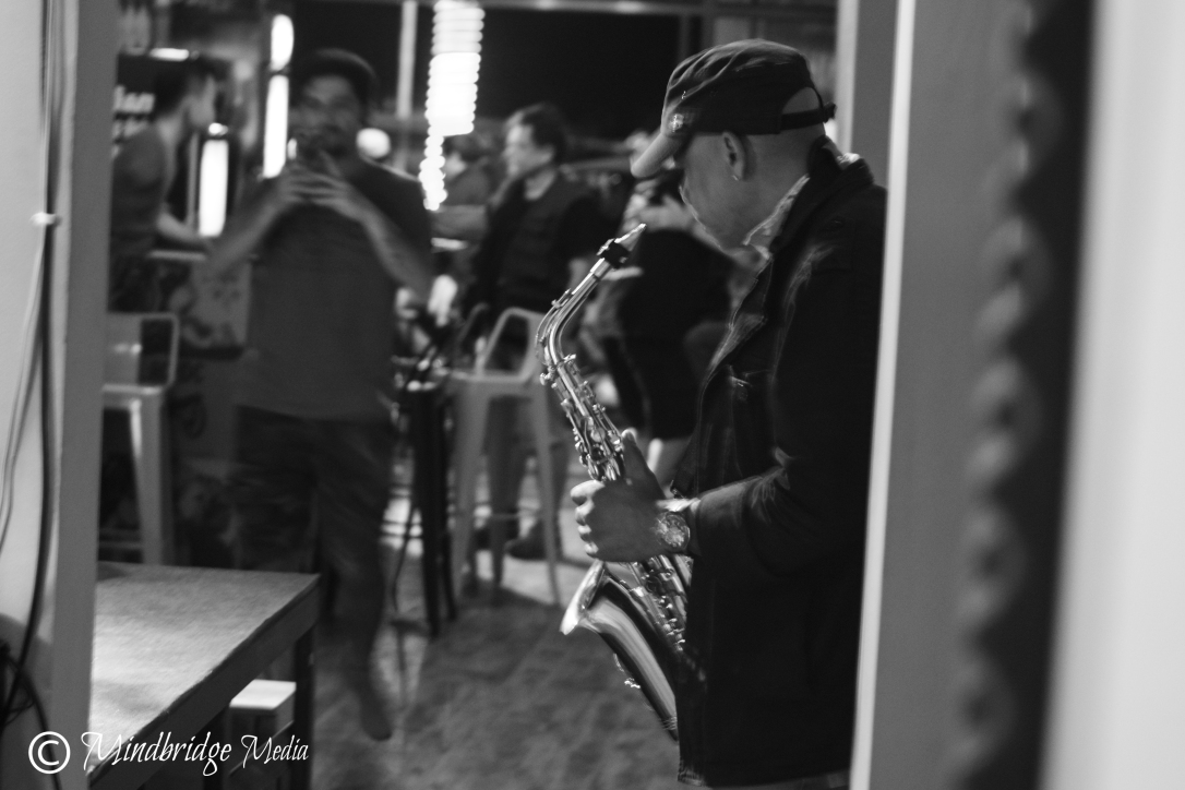 Sax player, break, The Stage, Phnom Penh